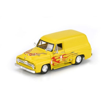 HO RTR 1955 Ford F-100 Panel Truck, Yel/Flames #2 (1955 Ford Panel Truck)