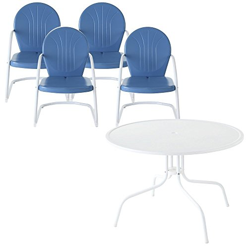 - Crosley Furniture Griffith 5-Piece Metal Outdoor Dining Set with Table and Chairs - Sky Blue