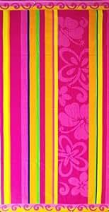 "100% Egyptian Cotton Jacquard Beach Towels Oversized 40""x70"" - 2 PC Set - Floral Stripes"