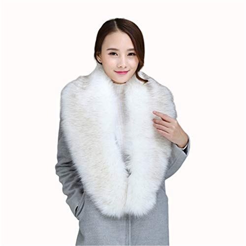 Belinan Women Faux Fur Collar Scarf Shawl Wrap Stole Warmer Shrug For Winter Coat (125CM/49.2