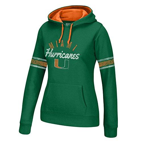 NCAA Miami Hurricanes Women's Essential Arm Stripe Hoodie, Medium, (Miami Hurricanes Womens Jerseys)