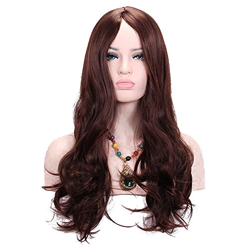 TopWigy Long Brown Curly Wave Wigs Synthetic Hair Side Bang Full Party Female Wig (Light Brown 26