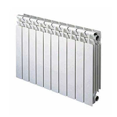 """AB 10 Section, Bimetal, Wall-Hung, Aluminum Heating Radiator with Brackets Included 23"""" x 40"""" White"""