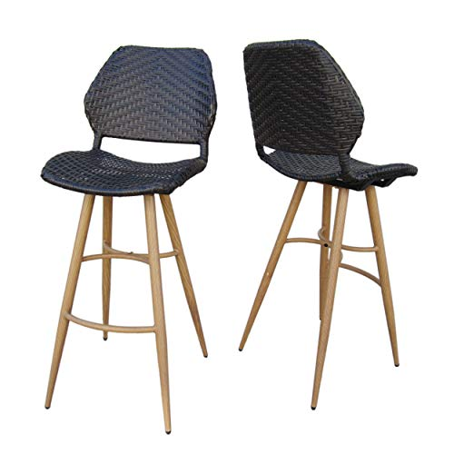 Christopher Knight Home Amaya Outdoor Multibrown Wicker Barstools with Brown Wood Finish Metal Legs (Set of ()
