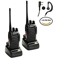 Professional Walkie Talkie 2 pack, Galwad 400-470 MHz Two Way Radio Rechargeable Long Range Headset Headphone Built in LED Torch