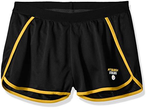 (OTS NFL Pittsburgh Steelers Female Poly Dot Sport Shorts, Jet Black, Large)