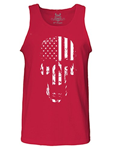 Skull Eagle - Gs-eagle Men's Printed Skull American Flag Graphic Tank Top XLarge Red
