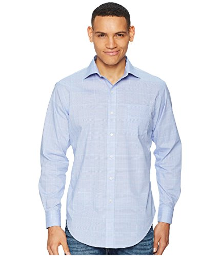 Lauren Ralph Lauren Men's Classic Fit No-Iron Cotton Dress Shirt Cerulean Blue/Coral Multi ()