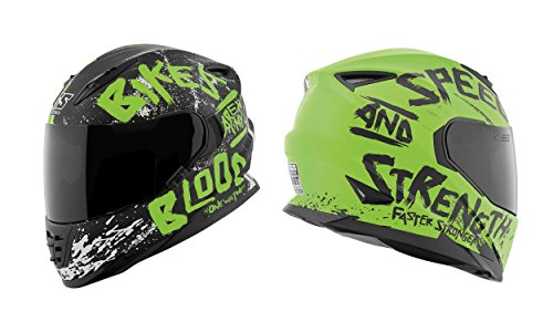 Speed and Strength Men's SS1310 Bikes Are In My Blood Street Motorcycle Helmet - Matte Green/Black/Large