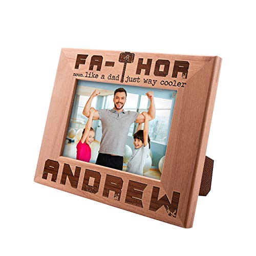 - Personalized Picture Frame Gifts for Dad, FaTHOR - Way Coller, Funny 4x6 5x7 8x10, Custom Engraved Frame, Horizontal Vertical Options, New Dad Gifts