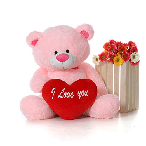 Giant Teddy Original Brand - Biggest Collection of Super Soft Stuffed Teddy Bears (Pillow Heart Included) (Cotton Candy Pink, Giant) (Teddy Bear Pink Collection)