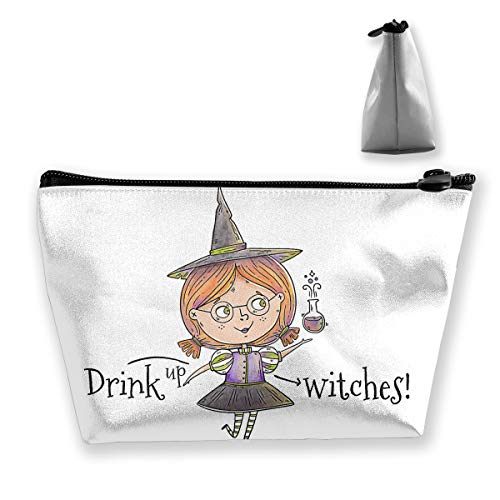 Witch Character with Poison for Halloween Makeup Bag Large Trapezoidal Storage Travel Bag Wash Cosmetic Pouch Pencil Holder Zipper Waterproof ()