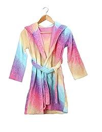 Slumber Party Kids Girls Rainbow Fleece Robe Housecoat Bathrobe for Tween Girls 6-12yrs