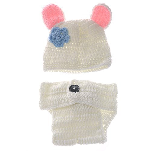 Foxnovo Cute White Rabbit Style Baby Newborn Hand Knitted Crochet Hat Costume Baby Photograph Props (Hand Knitted Hat)