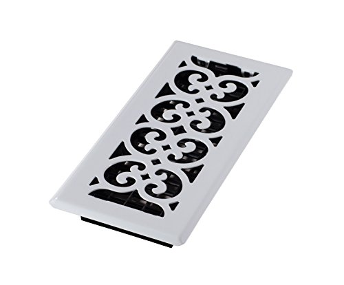 Decor Grates FS410-WH Scroll Metal Floor Register, White, 4-Inch by (White Floor Register)