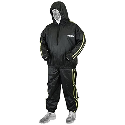 MRX BOXING & FITNESS MRX Heavy Duty Sweat SAUNA SUIT With Hoodie Exercise Gym Suit Fitness Weight Loss Slimming MMA Training Black/Green (Hoody Suit)