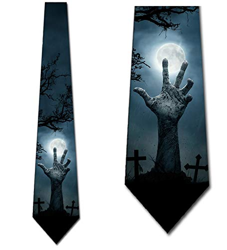 Zombie Ties Mens Scary Halloween Graveyard Neck Tie by Three Rooker