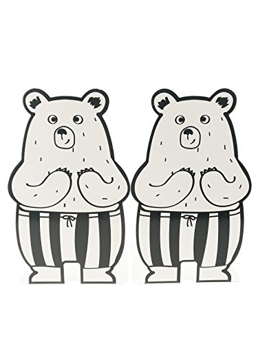 A Pair Of Cute Cartoon Bear With Pant Pattern Nonskid Metal Bookends For Kids Children Bedroom Library School Office Desk Study Gift (White)