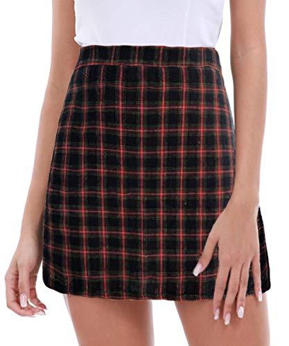 FISOUL Women's High Waist Bodycon Mini Skirt School Girl Plaid Uniform Skirt Blue L ()