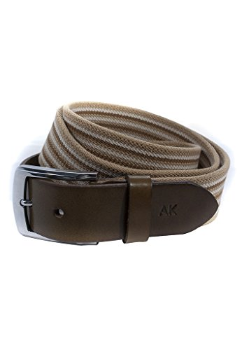 Khaki Mix (Anne Kokke Mens Elastic Canvas Leather Belt Medium Khaki with Mix Brown Strip)