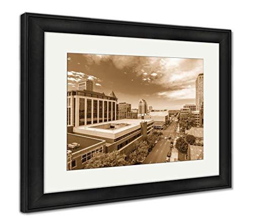 (Ashley Framed Prints Birmingham, Alabama, USA, Wall Art Home Decoration, Sepia, 26x30 (Frame Size), Black Frame, AG32675384)