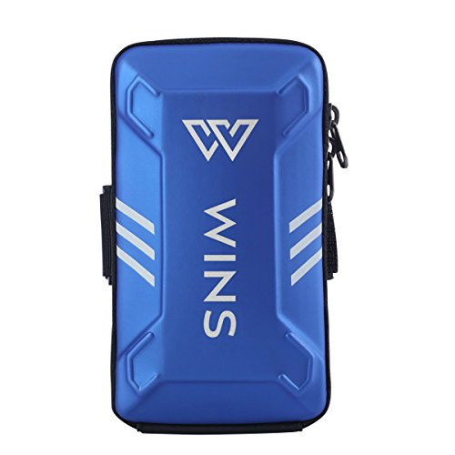 WINS Sports Armband, Waterproof Night Running Multi-functional Pockets, Workout Arm Bag for iPhone, Android Cell Phones (Blue, Large) by WINS