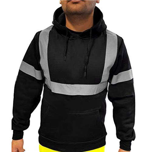 Mens Road Work High Visibility Jacjet ♣ Male Long Sleeve Hooded Sweatshirts Pullover Top Hoodie -
