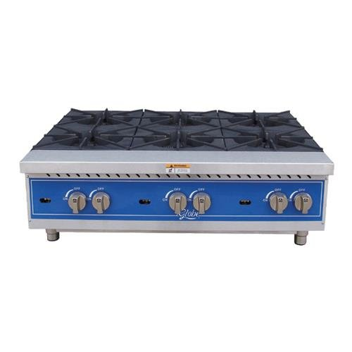 Globe Food Equip. Countertop S/S 6-Burner 36'' Gas Hot Plate by Globe (Image #1)