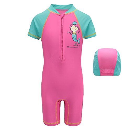 Girls One Piece Rash Guard Swimsuits Kids Short Sleeve Sunsuit Swimwear 5T,4-5 Years,Mermaid