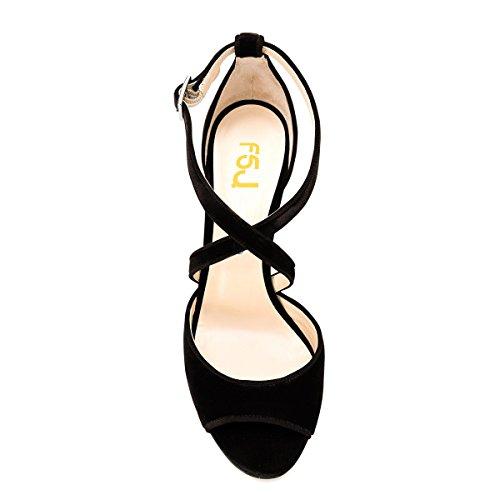 Black FSJ Heel High Strap Peep Elegant Toe Velvet Shoes 4 US Cross Chunky Dress Size Sandals 15 Women Pumps rHgUwqr