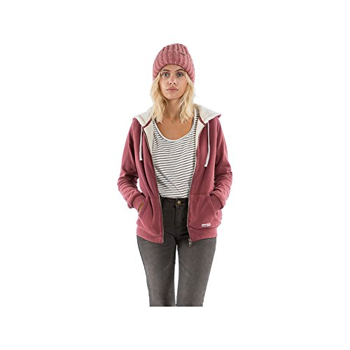 Billabong Essential Sherpa Womens Zip Hoody Small Scarlet