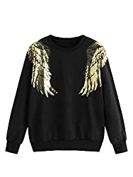 Wings Graphic Print Sequin Pullover Sweatshirt
