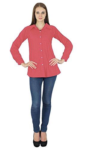 Con botones de manga larga superior Kurta algodón blusa de la camisa del desgaste de mujeres Rosado