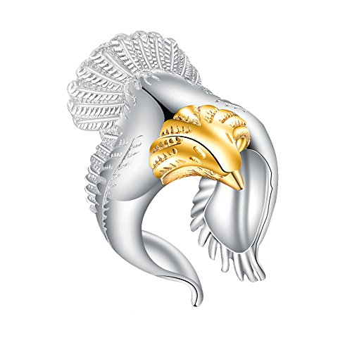 MIXIA Retro Eagle Wings Open Ring Wide Band Gothic Jewelry Adjustable Finger Ring (Gold) ()