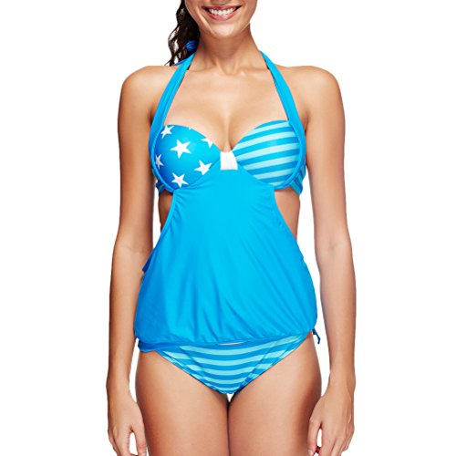 Zhhlinyuan Hot Two Piece Push Up Swimsuit Women's natación Tankini Set Swimwear Sky Blue