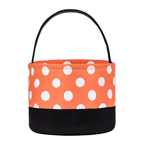 ERANLEE Halloween Bags and Buckets Trick or Treat Bags Children's Fabric Candy Bucket Tote Bag Storage Containers for Kids -Dot -