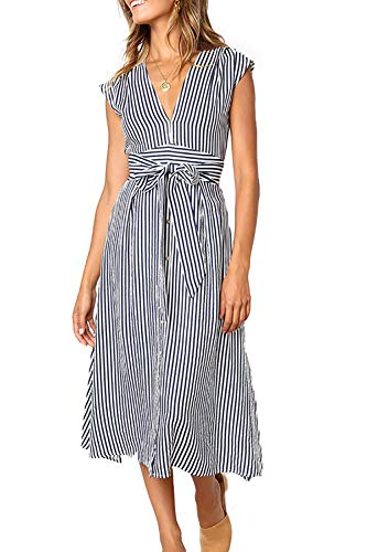 Pleats Striped Skirt - Alelly Womens Striped V Neckline Bohemian Waist Tie Partially Lined Sleeveless Midi Dress Blue