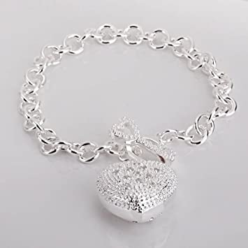 New Fashion Jewelry Classic 925 Sytle Women solid Silver Jewelry bracelet + velvet pouch fkths