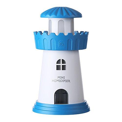 (elecfan Ultrasonic Air Purifier, Fogger, Humidifier, Air Moisturizing, Dust Eliminating,Creative Mini Lighthouse Design, Portable USB Aroma Diffuser with LED Lights for Home,Office, Car - Blue)