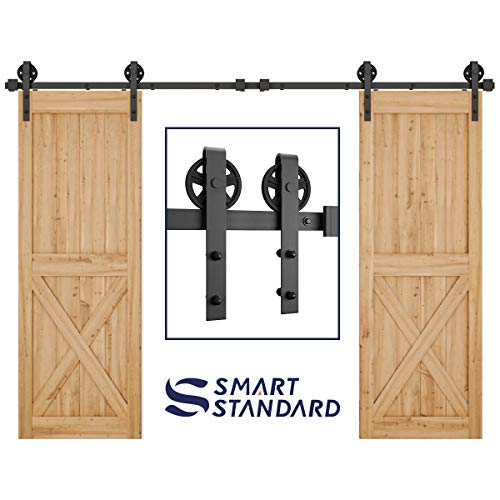 SMARTSTANDARD 10FT Double Gate Heavy Duty Sturdy Sliding Barn Door Hardware Kit, Two-Piece Rail, Black, Smoothly and Quietly, Easy to Install (Two Piece Kit)