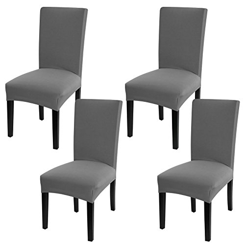 Fuloon Super Fit Stretch Jacquard Removable Washable Short Dining Chair Covers Seat Slipcover for Hotel,Dining Room,Ceremony,Banquet Wedding Party (4, Gray) ()
