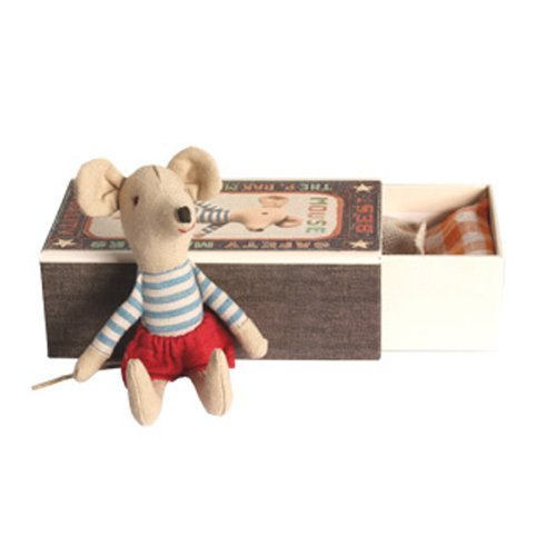 Maileg Big Brother Mouse with Stripe Top & Red Shorts in a Matchbox by Maileg by Maileg
