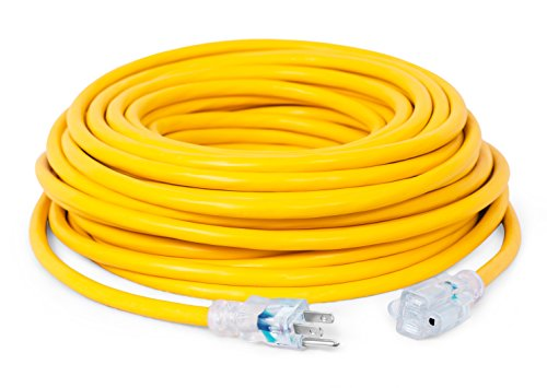 Internet's Best 100 FT Power Extension Cord with LED Lighted Plugs | 12 AWG (Gauge - 12/3) Heavy Duty Outdoor/Indoor Power Extension Cable Cord | NEMA 5-15 R & 5-15P - SJTW | Yellow