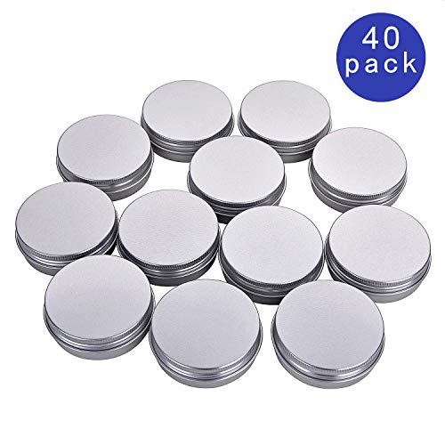 2 oz Tin Container with lid, Metal Aluminum Round salve tins with Screw Thread Lid, Lip Balm Containers, Great for Store Spices, Candies, Tea, homemade salves and balms or Gift Giving, Pack of 40 ()