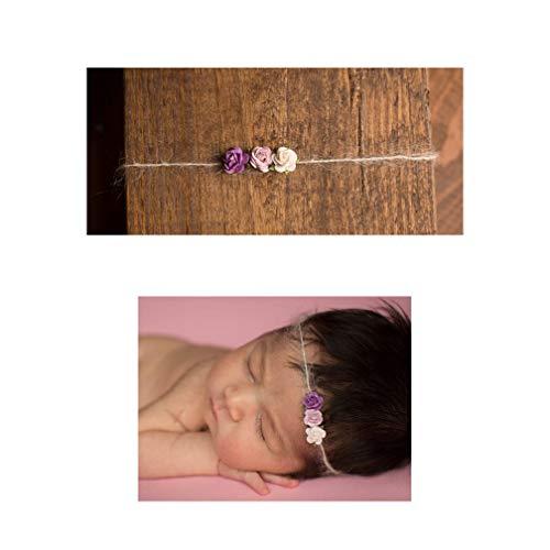 - Purple Flower Trio Mohair Tieback Headbands, Photography Prop, Newborn, Toddler, Child, Adult (Purple)