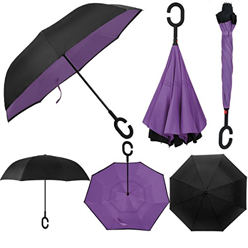 Rainlax Inverted Umbrella Double Layer Windproof Anti UV Protection Umbrellas for Car Rain Outdoor with C-Shaped Handle (Black,Purple)