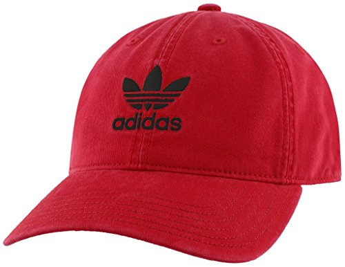 adidas Men's Originals Relaxed Fit Strapback Cap, Scarlet Red/White, One (Adidas Red Hat)