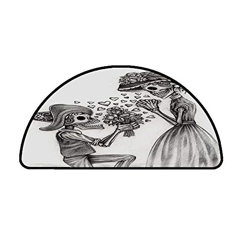Day of The Dead Decor Comfortable Semicircle Mat,Mariage Proposal Till Life do us Apart Dead Day Festive Print for Living Room,27.5