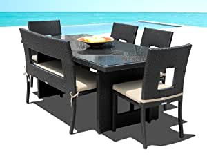 Mango Home Patio Wicker 6 Piece Dining Set Outdoor Dining Table And Chairs