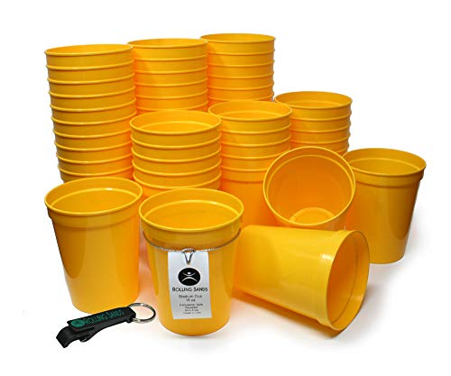 Rolling Sands 16oz Reusable Plastic Stadium Cups Yellow (50 Pack, Made in USA, BPA-Free) Dishwasher Safe Plastic Tumblers and Bottle Opener